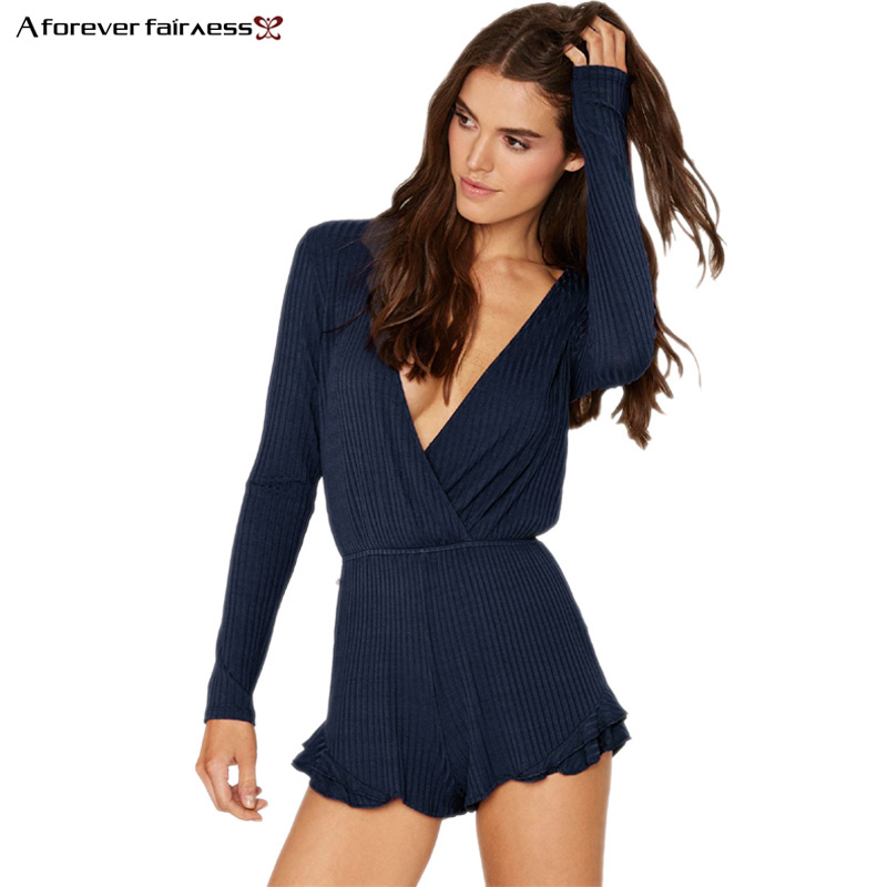 A Forever 2020 Rompers Women Jumpsuit Sexy Plunging V-Neck Long Sleeve Short Overalls Bodysuit Femme Club Rompers Jumpsuits 1055