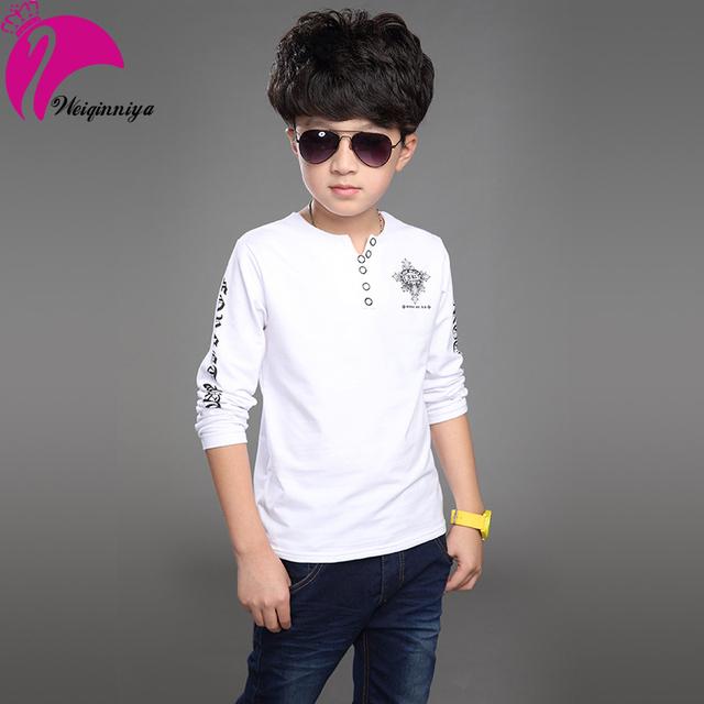 2016 nova primavera menino t-shirt padrão projetado v-neck Big crianças meninos t-shirt crianças roupas Infantis