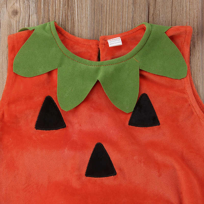 2019 Cute Pumpkin Print Cosplay Baby Romper Halloween Baby Kid Pumpkin Suit Top Blouse Dress+hat Clothes Costumes 2pcs Set