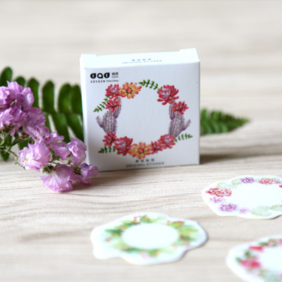 45pcs/box Paper Floral Writable Christmas Gift Packing Label, For Baking Package Box / Bags / Cup Seal Stickers Stationery Decor