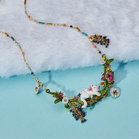 Dyxytwe Statement Luxury White Cat Necklace Enamel Glaze Lovely Fruit Flower Women Party Jewelry Good Gift