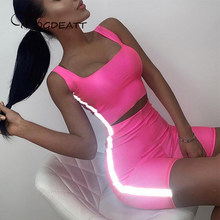 2019 Reflective Set Sexy Two Piece Set Tracksuit Women Summer Crop Top and Biker Shorts Suit Club Outfits Neon Matching Sets(China)