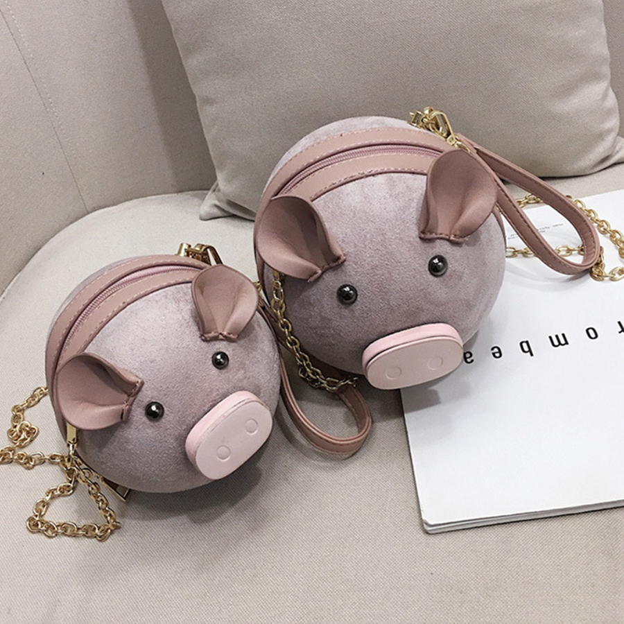 Cute Suede Pig Bag Women Small Chains Round Bag Female Shoulder Messenger Bags Coin Purses Wrist Crossbody Bags 2019 Chic Sac