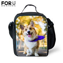 FORUDESIGNS Thermal Food Lunch Bag Welsh Corgi Pembroke Dog Printing Lunchbox Picnic Insulated Handbags For Kids 2019