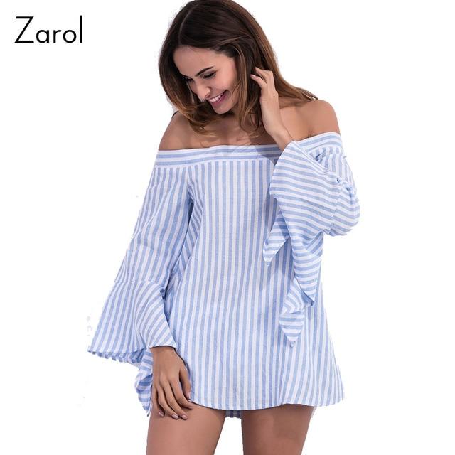 2b0d399c23a15 Camisa das mulheres listra fora do ombro top blusa manga flare tubo das  mulheres blusas camisas