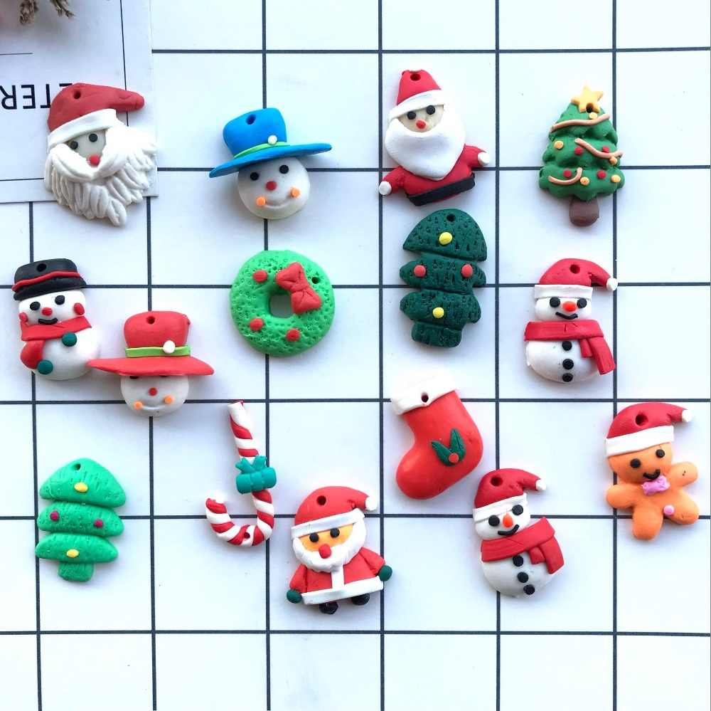 Polymer Clay Christmas Charms.Polymer Clay Flat Back Santa Claus Tree Earring Charms Resin