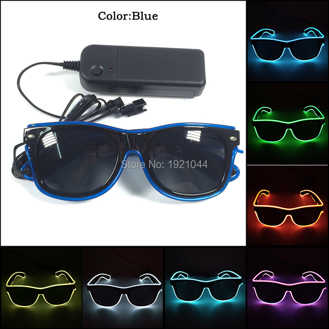 2017 New Design Fashion 10 Colors EL wire LED Sunglasses with dark lens neon rope tube With DC-3V Steady on for Party Decor