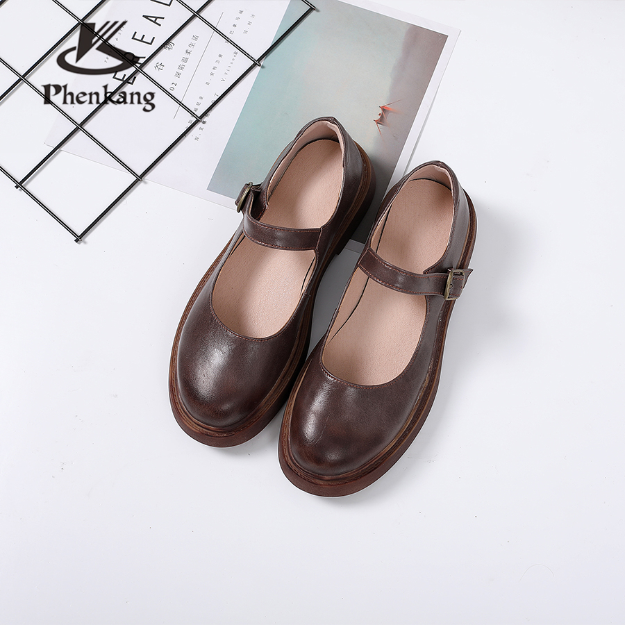 100% Genuine cow leather lady flats Sandals shoes vintage handmade casual oxford shoes for women brown summer-in Low Heels from Shoes    1
