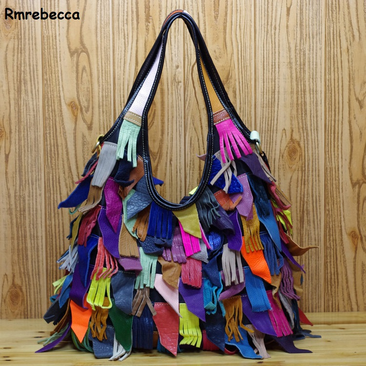 Fashion women's colorful tassel handbags genuine leather large capacity shopping bag day clutches women shoulder hand bag hot