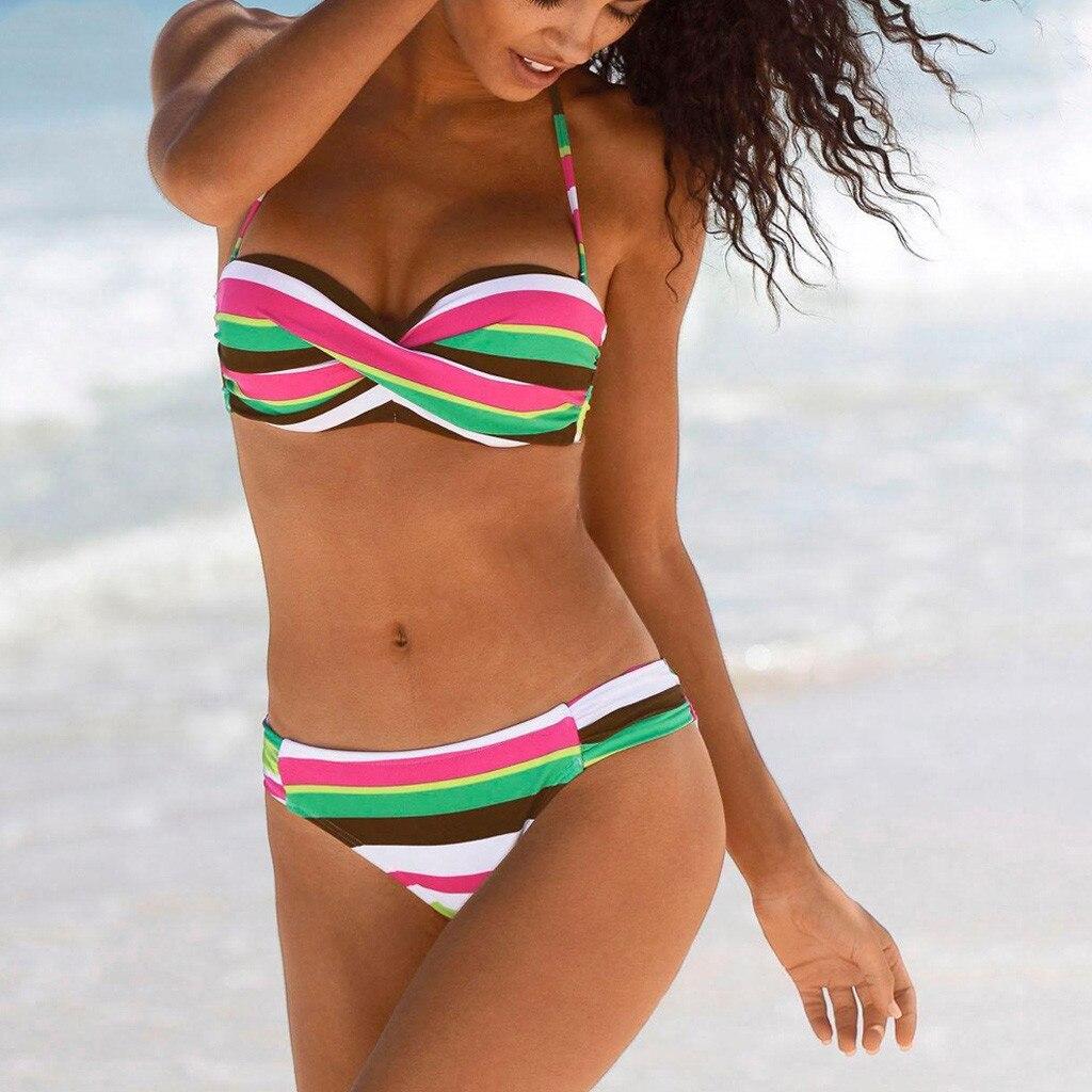Bikinis Set Women Boho Stripes Halter Push Up Bandeau Bikini Set Two Piece Swimsuits Stroj Kapielowy Tankini Fatos De Banho Maillot De Bain Sports & Entertainment