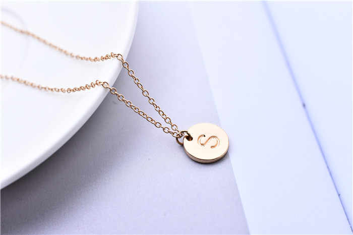 ... 1pc Cute S Initial Letter Necklace Round Alphabet S Letter Pendant  Necklaces Coin Disk Jewelry Gift ...
