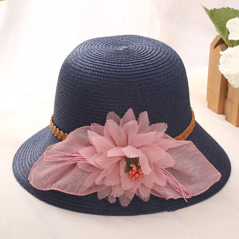 HT1284 2017 New Fashion Women Summer Hats with Flower Solid Wide Brim Floppy  Panama Bucket Hats Female Foldable Beach Sun Hats 62904843e40d