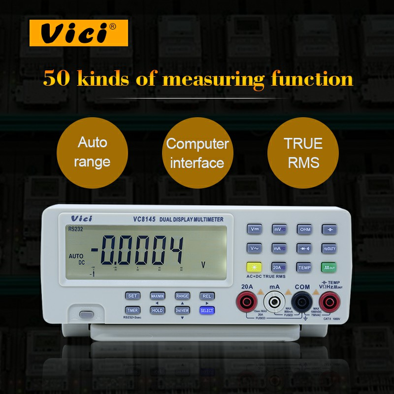 Digital Bench Multimeter Vici VC8145 DHL/EMS Ship 1pc DMM Temperature Meter Tester PC Analog 80000 counts Analog Bar Graph
