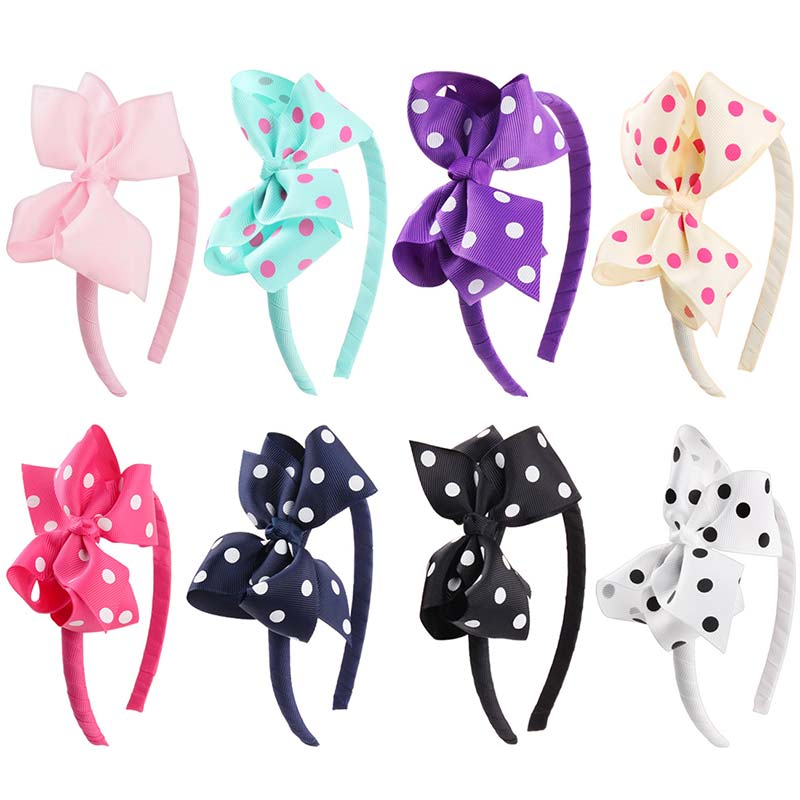 New 98 Colors Girls Bow Hairband Children's Solid Hair Band With Grosgrain Ribbon Handmade Solid Dots Hair Accessories   Headwear