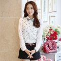 Korean White Lace Blouse Women 2017 Spring Summer Slim Chiffon Blouse Female Peter Pan Collar Long Sleeve Shirt Women Blusas