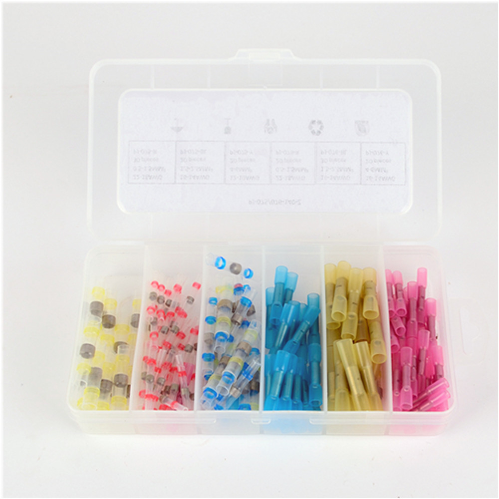 140 PCS Insulated Heat Shrink Butt Wire Electrical Crimp Terminal ...