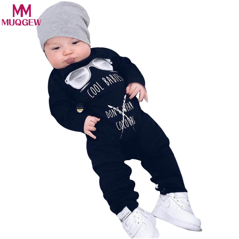 New 2018 Fashion Black Infant Baby Rompers Letter Cool Sunglasses Print Newborn Boy Girl Long Sleeve jumpsuit Playsuit Clothes new infant toddler newborn baby girl boy rompers alpaca printed long sleeve jumpsuit playsuit outfits pajamas one piece clothes