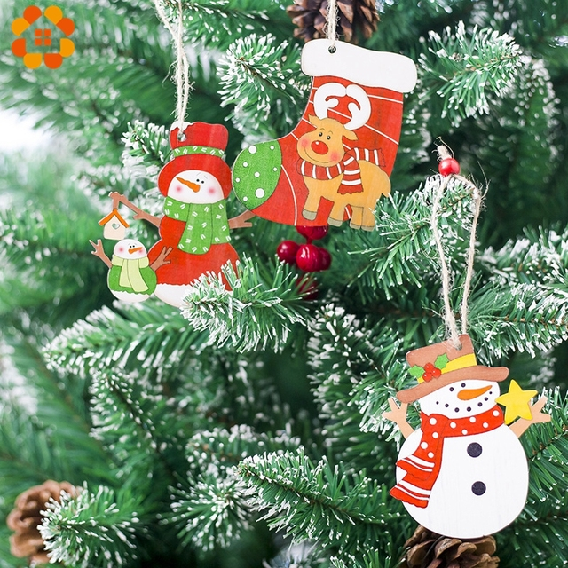 3PCS Christmas Cartoon Snowman/Deer Wooden Pendants Ornaments Xmas Tree Ornament Wood Crafts For Home Christmas Party Decoration