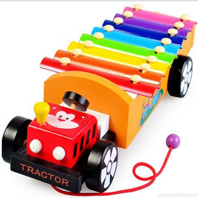 2016 arrastar serinette batida mão locomotiva De Madeira do bebê brinquedo educativo de madeira Brinquedo Instrumento Musical