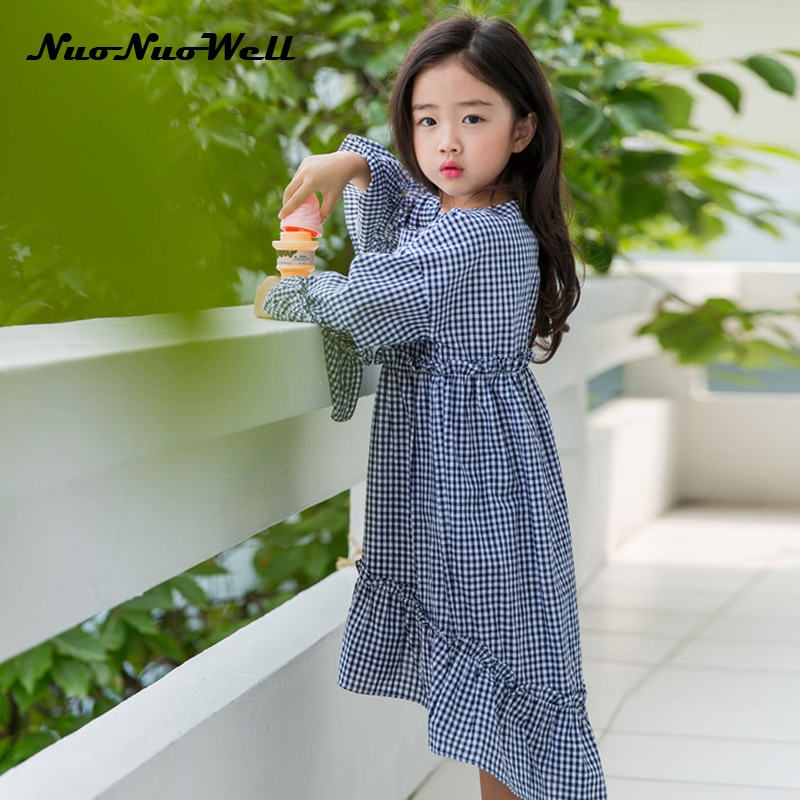 NNW 2017 Autumn Little Girls Dresses Flare Sleeve Baby Clothes Princess Plaid Dress Children Kid's Dress Kids Clothes Blue/Red nnw autumn new baby boys clothes 3pcs