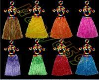 12sets 60CM 6PCS/set Plastic Fibers Women Grass Skirts Hawaiian Hula Skirt set cheerleaders costumes Ladies Dress Up
