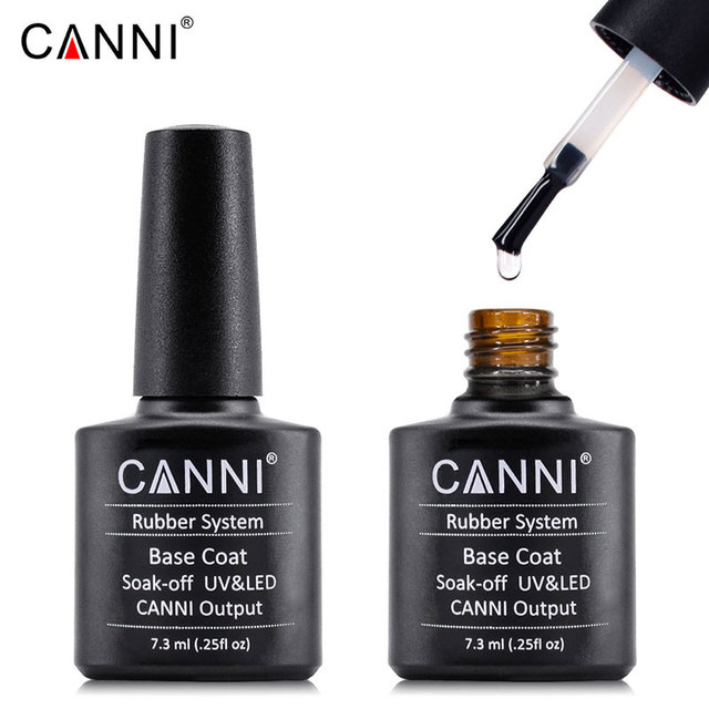 #61108 CANNI new 7.3ml soak off rubber base coat silicone rubber top coat, color rubber base gel nail polish