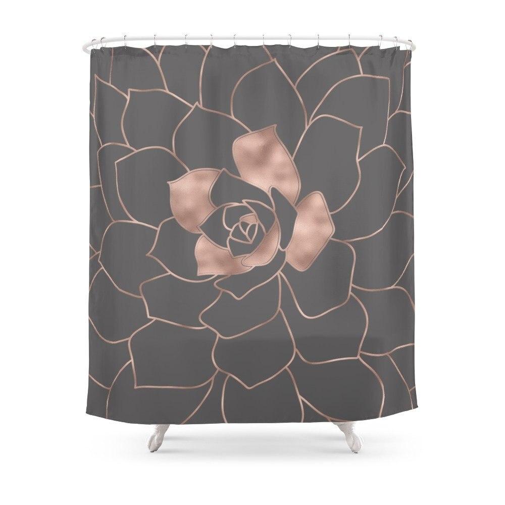 Rosegold Blossom On Grey Pink Metal effect Flower Shower Curtain Waterproof Bathroom Shower Curtains Shower