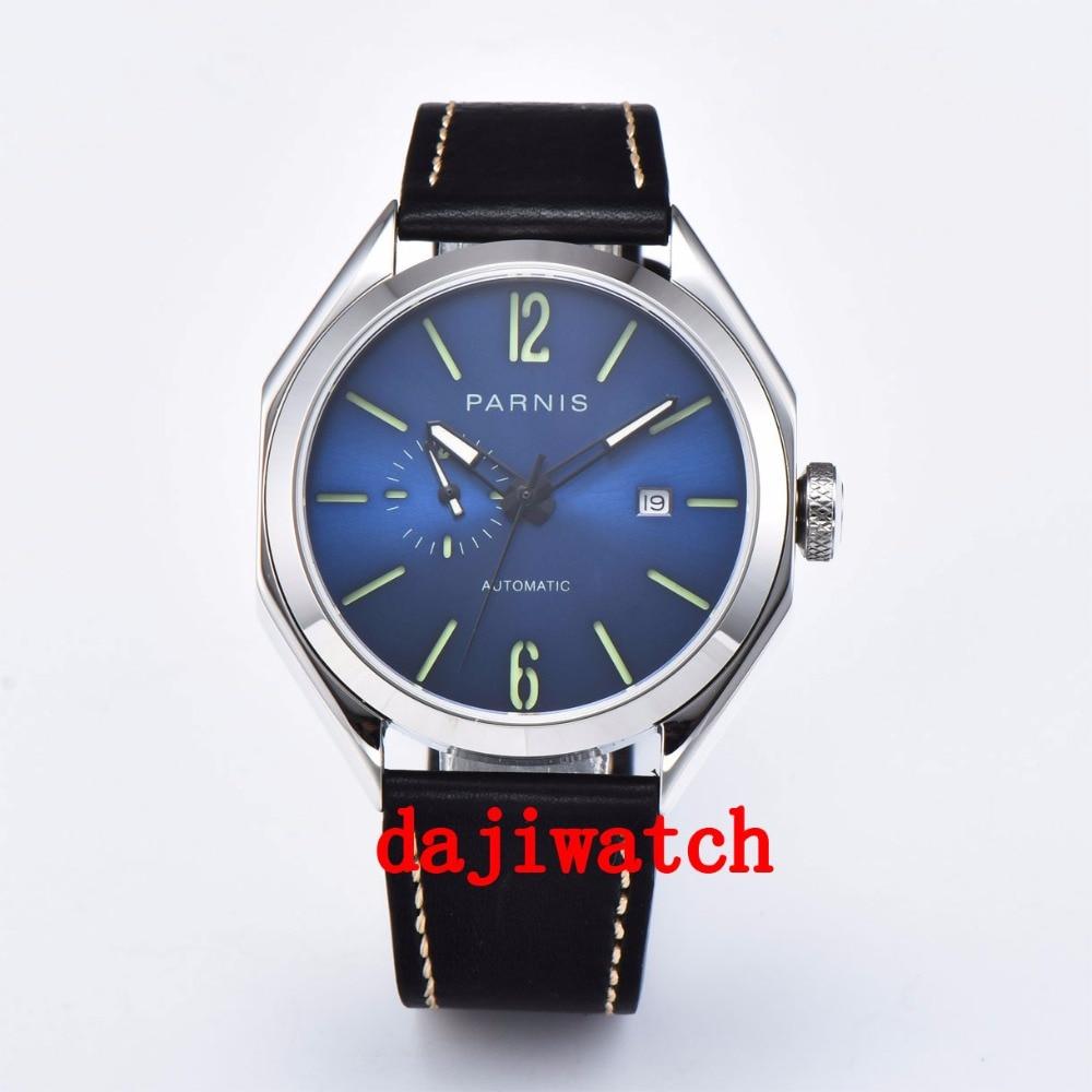 Saatler'ten Mekanik Saatler'de 43mm Parnis mavi kadran Safir Kristal ışıklı Miyota Otomatik Erkek izle'da  Grup 1