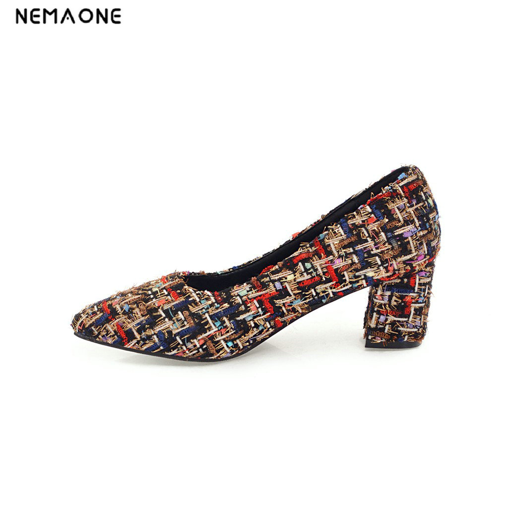 NEMAONE High Heels Women Pumps round Toe Slip On Shallow Footwear 2018 Brand Spring Fashion Ladies Sweet Shoes high quality women shoes colorful rhinestone shallow mouth high heels mature women pumps round toe slip on party wedding shoes