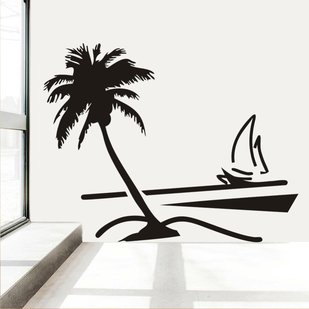Beach coconut palm tree sailboat wall art bathroom glass modern beach coconut palm tree sailboat wall art bathroom glass modern art mural 8499 home decor large 3d vinyl wall decal sticker in wall stickers from home amipublicfo Image collections
