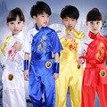 Дети китайский кунг-фу боевые искусства униформа мальчики девочки синий красный желтый белый шелк дети ушу костюмы тай-чи одежда набор FC170