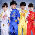 children chinese kungfu martial arts uniform boys girls blue red yellow white silk kids wushu costumes tai chi clothes set FC170