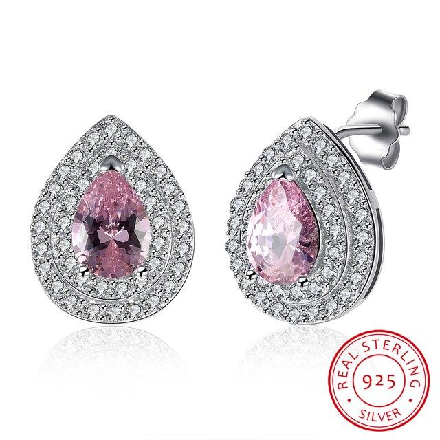 925 Sterling Silver Ear Clip Pink Zircon Inlayed Waterdrop Earrings Jewelry Women Free Shipping