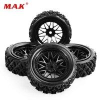 4 шт./компл. резиновые шины колеса 12 мм шестигранные ралли гонки 1/10 RC внедорожные автомобильные шины и обода колеса PP0487 + BBNK