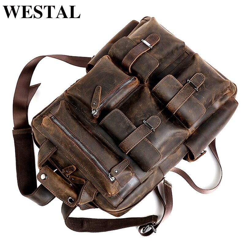 WESTAL hommes sac à dos en cuir véritable homme ordinateur décontracté homme Messenger sac à dos cartable sacs à dos décontracté hommes casual daypacks 3506
