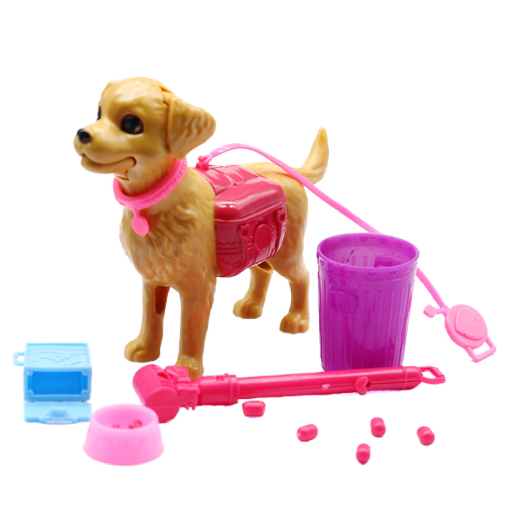 Plastic Dog Pet Sets Dog Food Bones Outside For 1/6 Doll House Accessories Puppet Toy For Barbie Doll
