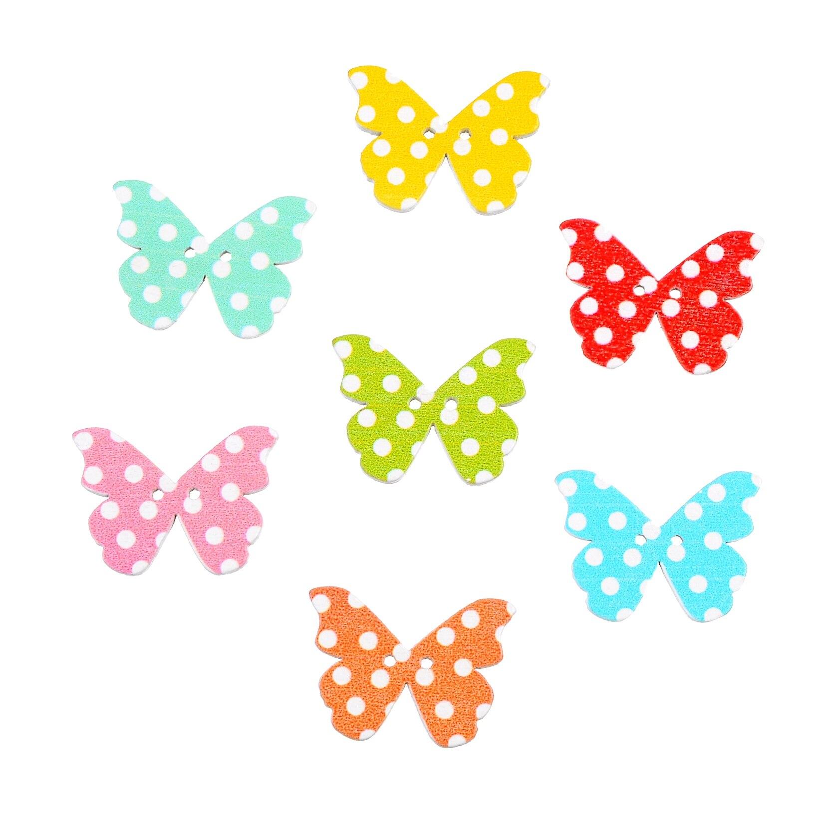 50 piezas 2 agujeros Color mezclado al azar mariposa botones de ...