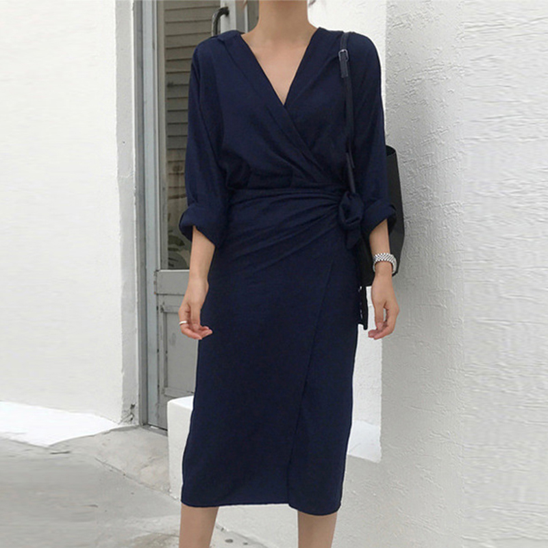 Casual Women's Dresses Linen Cotton V Neck Beige Long Sleeve Empire Summer Dress Mid-Calf Loose Female Dresses vestidos 6