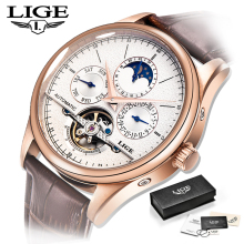 лучшая цена LIGE Mens watches Automatic mechanical watch tourbillon mens watches top brand luxury Man military sport watch relogio masculino