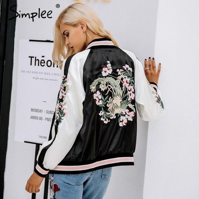 Simplee Reversible embroidery satin jacket coat sukajan Autumn winter 2017 flower basic jackets women Casual baseball jackets 4