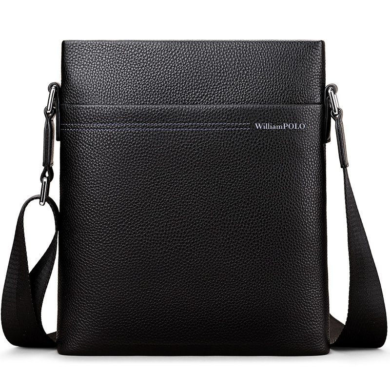 WILLIAMPOLO 2018 Bag Luxury Brand Male Messenger Bag Shoulder Leather Handbags Bolsas Grande Black POLO001D