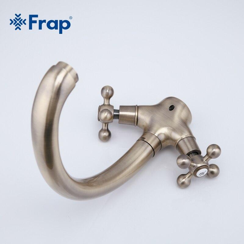 Frap Doppel Griff Küche Wasserhahn Antike Messing Heißer und Kalten Wasser Mischer 360 Grad Drehbaren Schwanenhals Design F4219-4