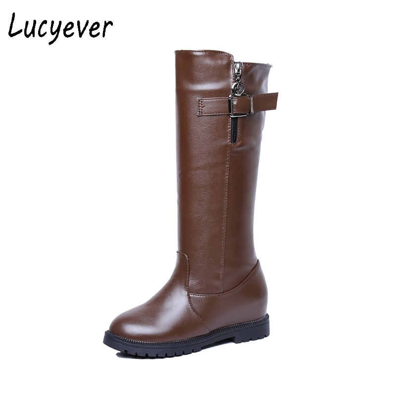 Lucyevre Women Autumn Winter Comfortable Low Heels Mid Calf Boots Fashion Buckle Zipper PU Leather Waterproof Riding Boots trendy low heel and double buckle design women s mid calf boots
