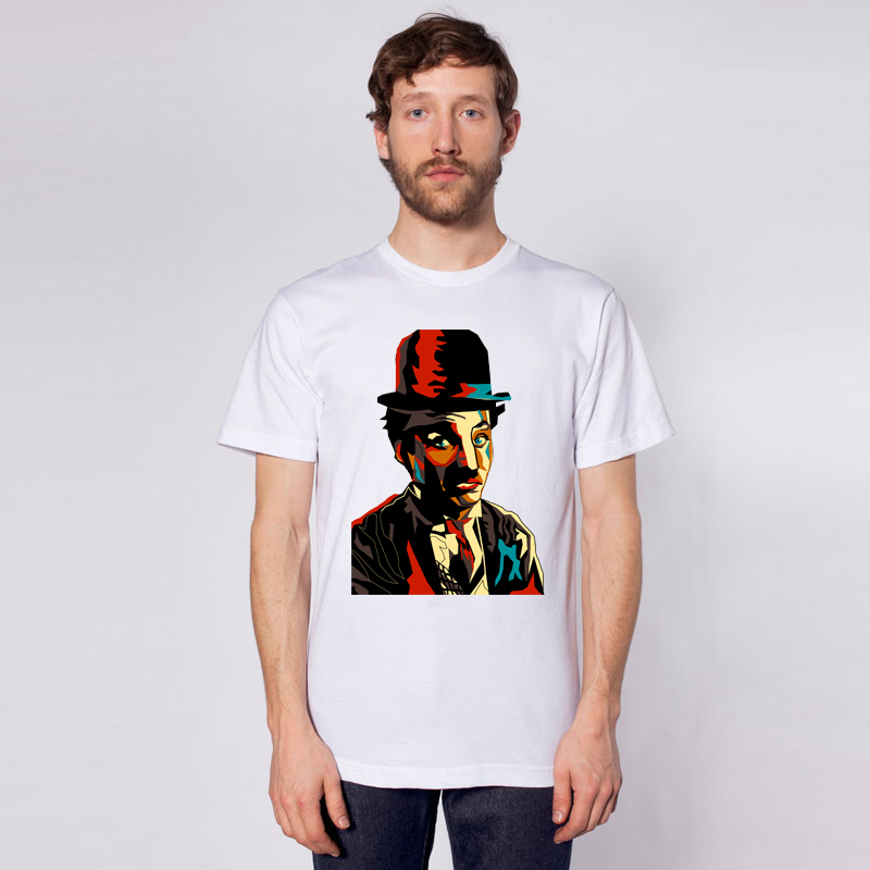 men's tees colorful Chaplin T-shirts hip hop printed t shirt Funny Short Sleeve men with hat Tshirts 2016 New Fashion Summer