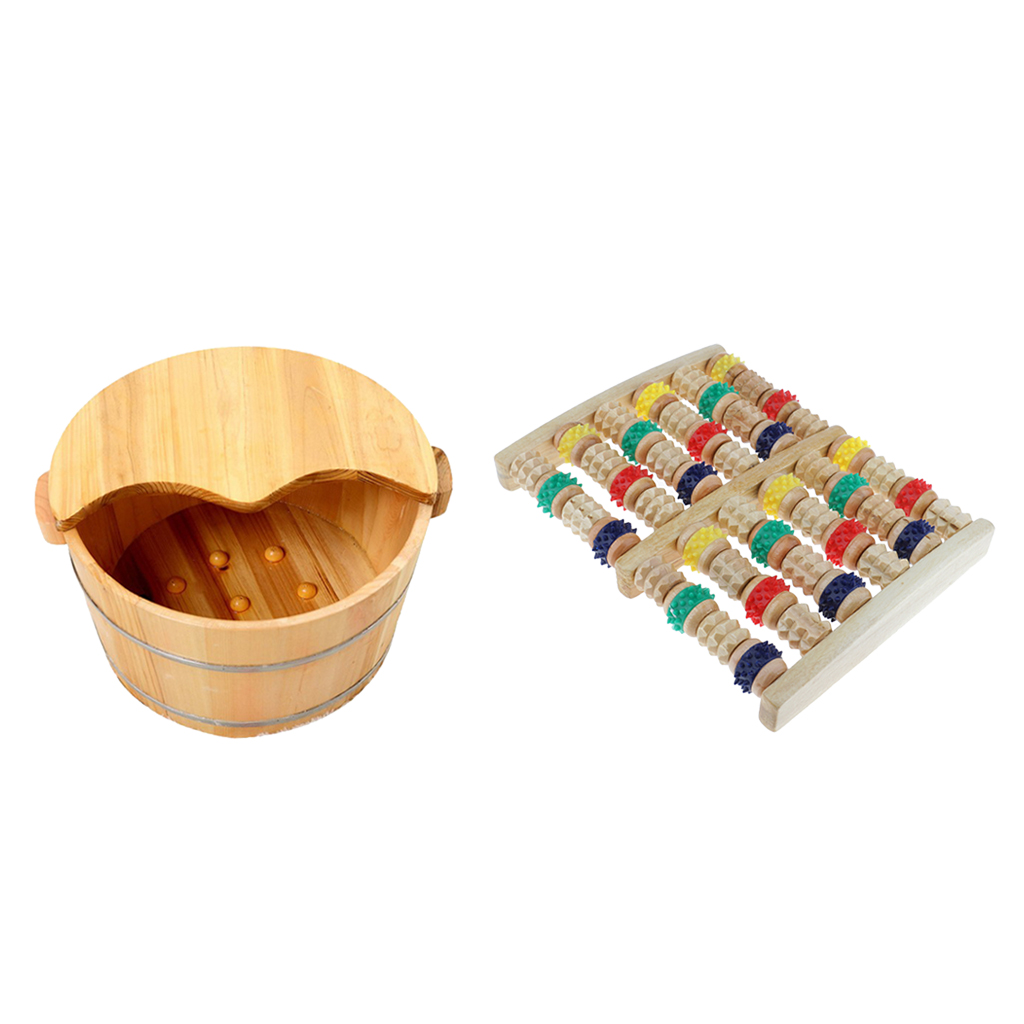 Natural Wooden Foot Bath Barrel Basin Relaxing Feet Soaking Mage Bucket Colorful 6 Rows Dual Mager Roller