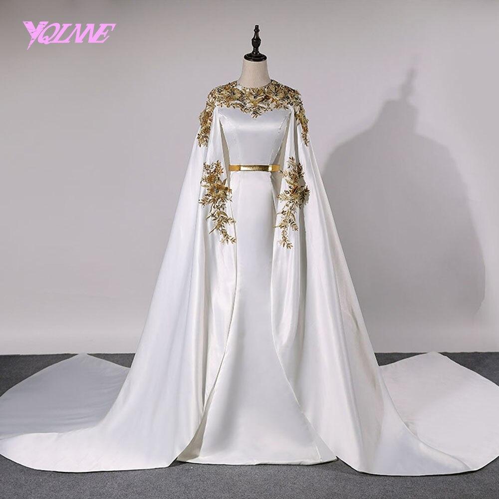 YQLNNE Dubai Evening Dresses 2018 Long Women Prom Gown Dress Satin Lace Appliques Crystals Vestido De