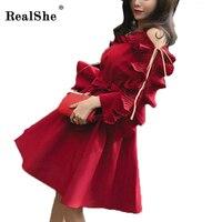 RealShe Women Dress Autumn Female High Waist Dress Women Ruffles Slash Long Sleeve A Line Party