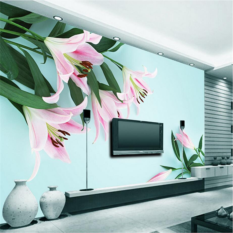 Custom Photo Wallpapers with Flowers Lily Wall Mural Wallpaper Modern 3d Wallpaper for Living Room TV Background Wall Mural 3d purple lilies flower mural photo wallpapers roll for living room home wall decor lily floral wallpaper wall 3 d papel pared