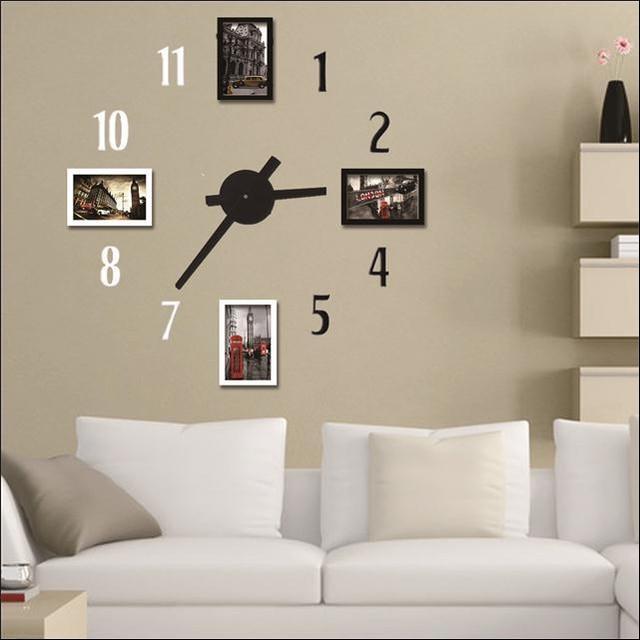 Photo frame wall clock Modern design,white black digital decorative ...