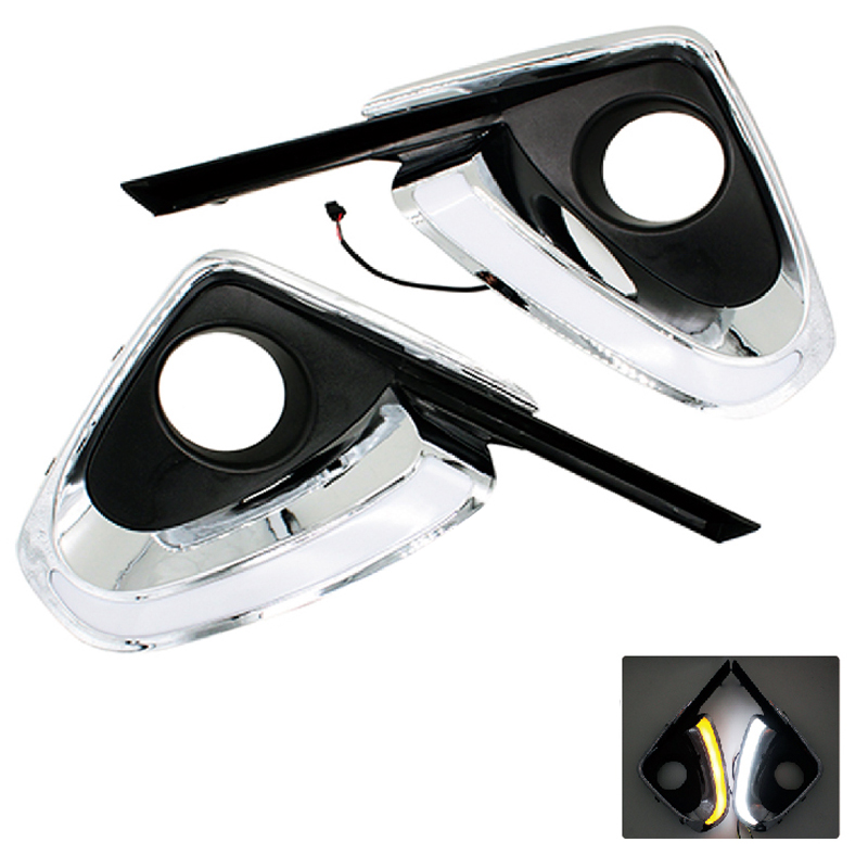 2Pcs/Set Car Styling DRL Daytime Running Light Auto Accessories with Yellow Turn Signal Function For Toyota Fortuner 2015 2016 car styling led headlight brow eyebrow daytime running light drl with yellow turn signal light for toyota camry v55 2015 2016